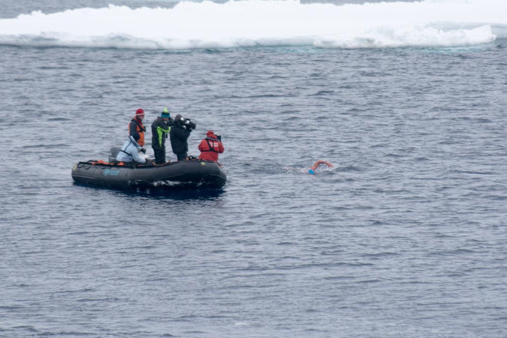 Lewis swimming at Cape Adare