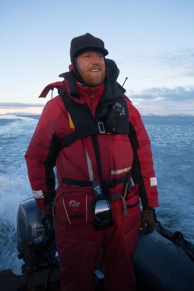 Myself driving the zodiac at Cape Washington, Terra Nova Bay, Victoria Land