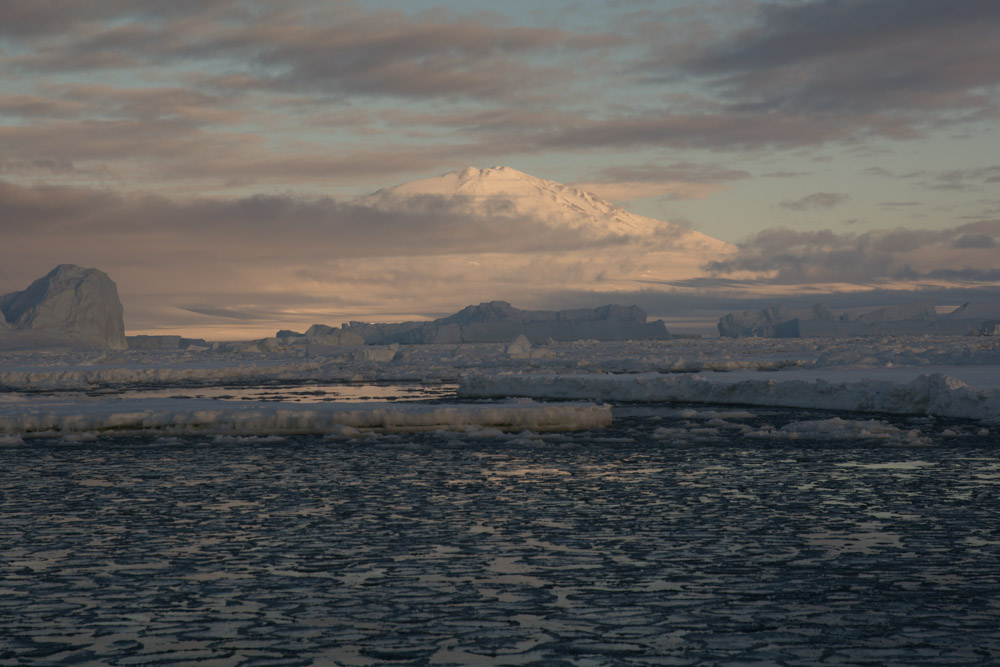 Mount Melbourne and mutliyear sea ice at Cape Washington, Terra Nova Bay, Victoria Land