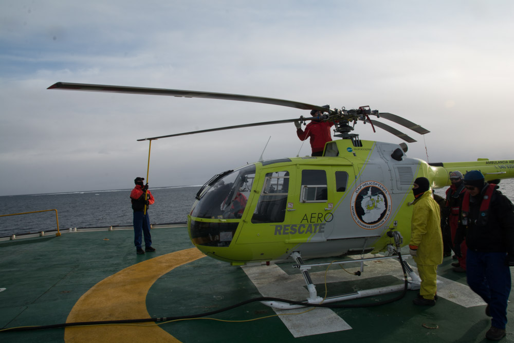 Preparing the helicopter