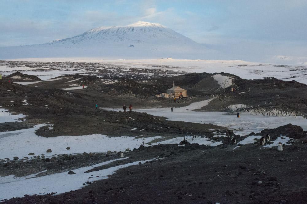 Mount Erebus and Shackleton's hut, Cape Royds, Ross Island