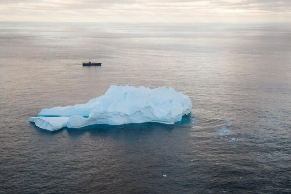 The Ortelius and iceberg at Peter 1 Island