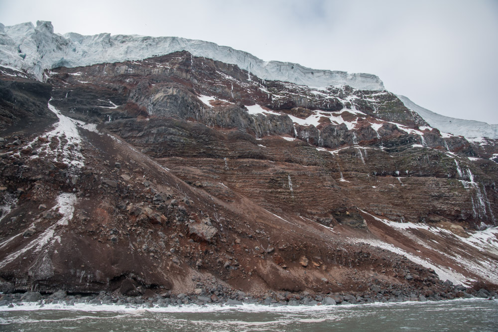 Layers of lava and pyroclasts and a slump on Peter 1 Island