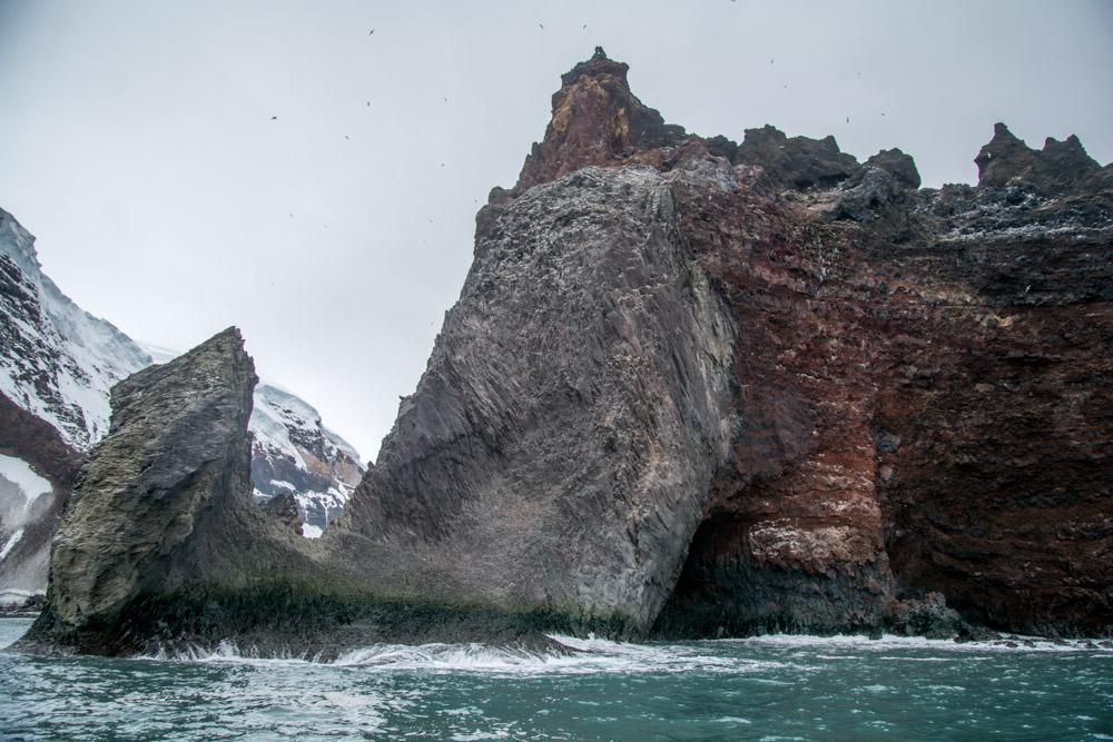 A feeder dyke forming an arch on Peter 1 Island