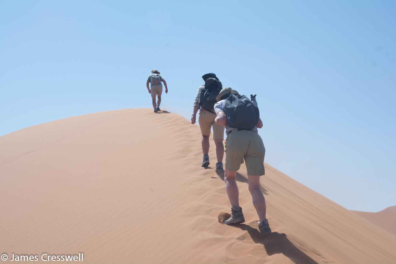 Climbing the Sossusvlei dunes in the Namib Desert