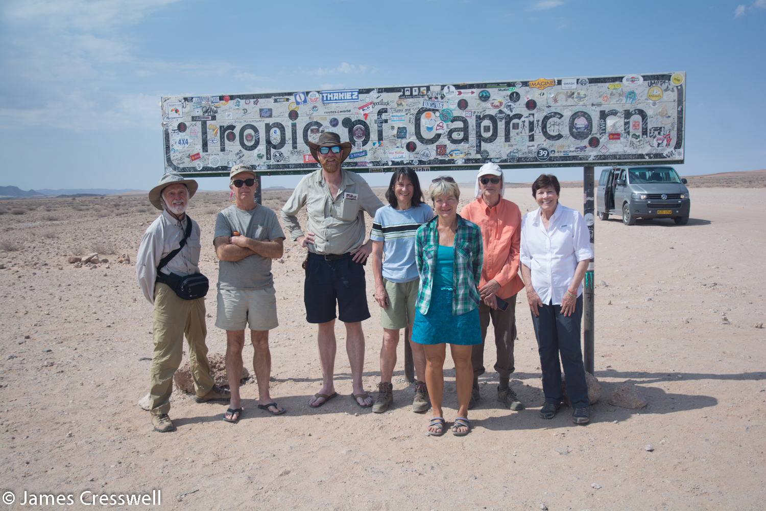 GeoWorld Travel group crossing the Tropic of Capricorn in Namibia