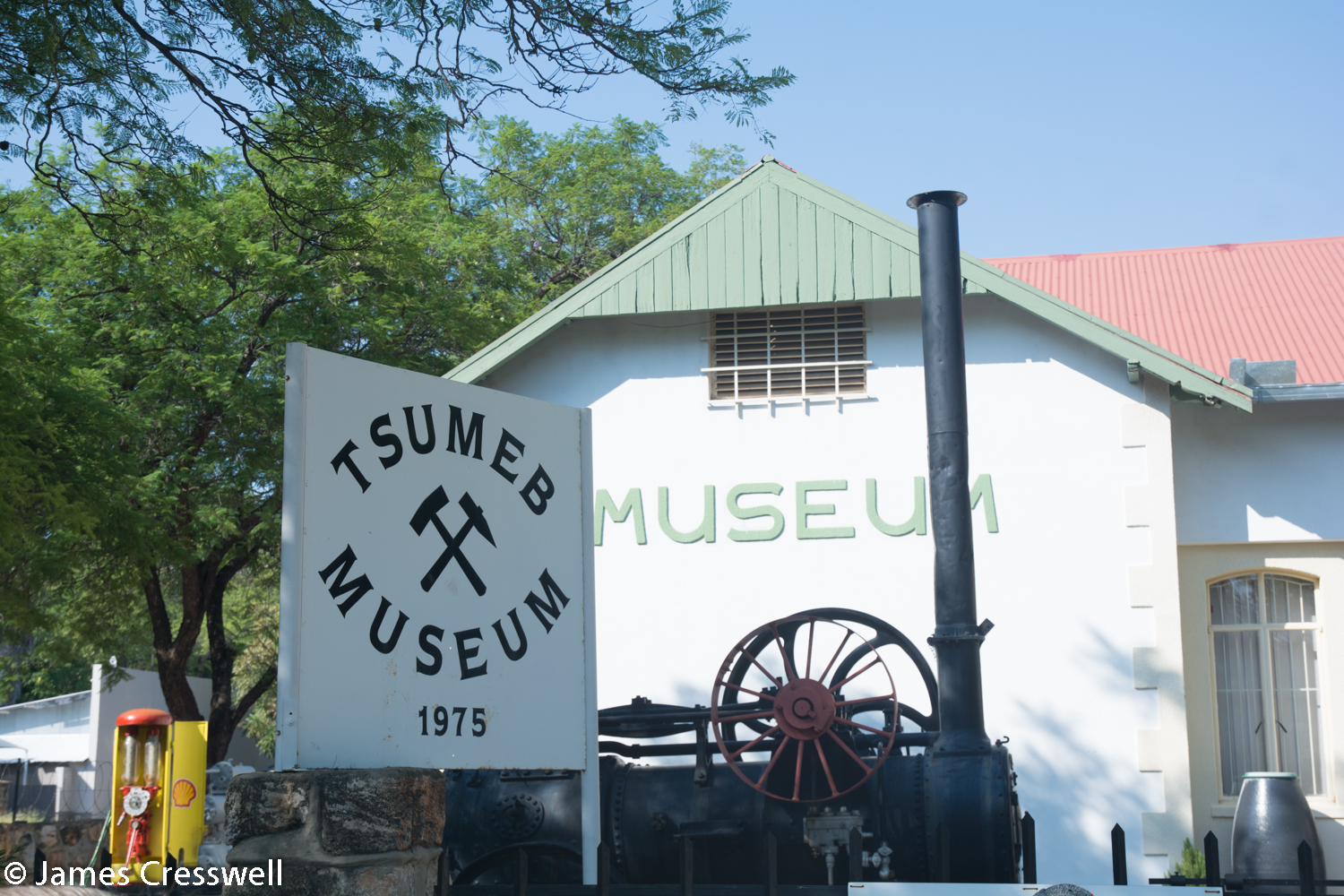 Tsumeb Mining Museum which is just up the street from the now abandoned Tsumeb Mine. The mine was one of the world's best mineral mines and in it were found the world's best crystals of Azerite and Dioptase.