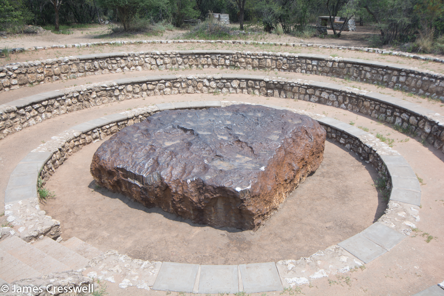The Hoba meteorite which fell to the earth 80,000 years ago and is the largest meteorite ever found.