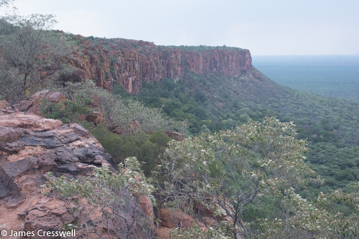 The Waterberg Ecarpment, Namibia. The rock is Jurassic sandstone. The escarpment is caused by the reactivation of a Precambrian fault (Damaran) when Gondwana split to form the South Atlantic.