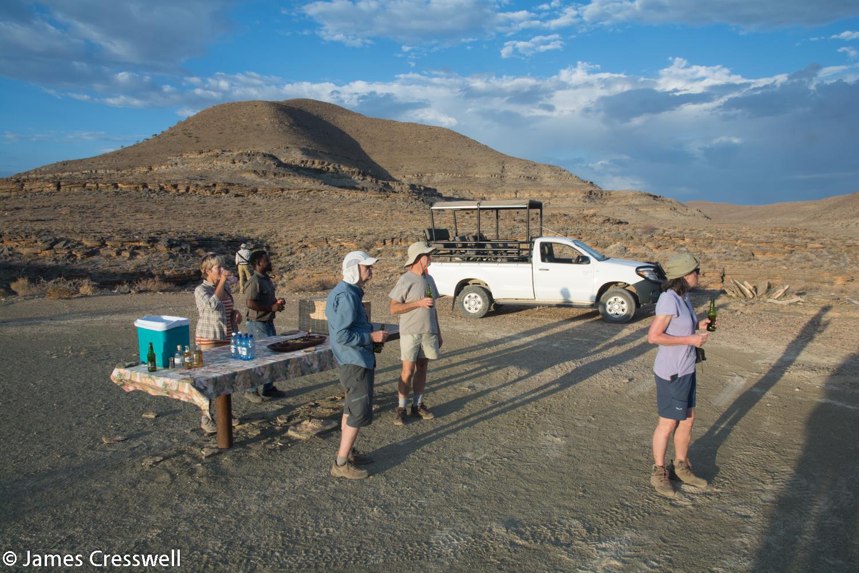 Enjoying a sundowner drink at Zebra River, Namibia