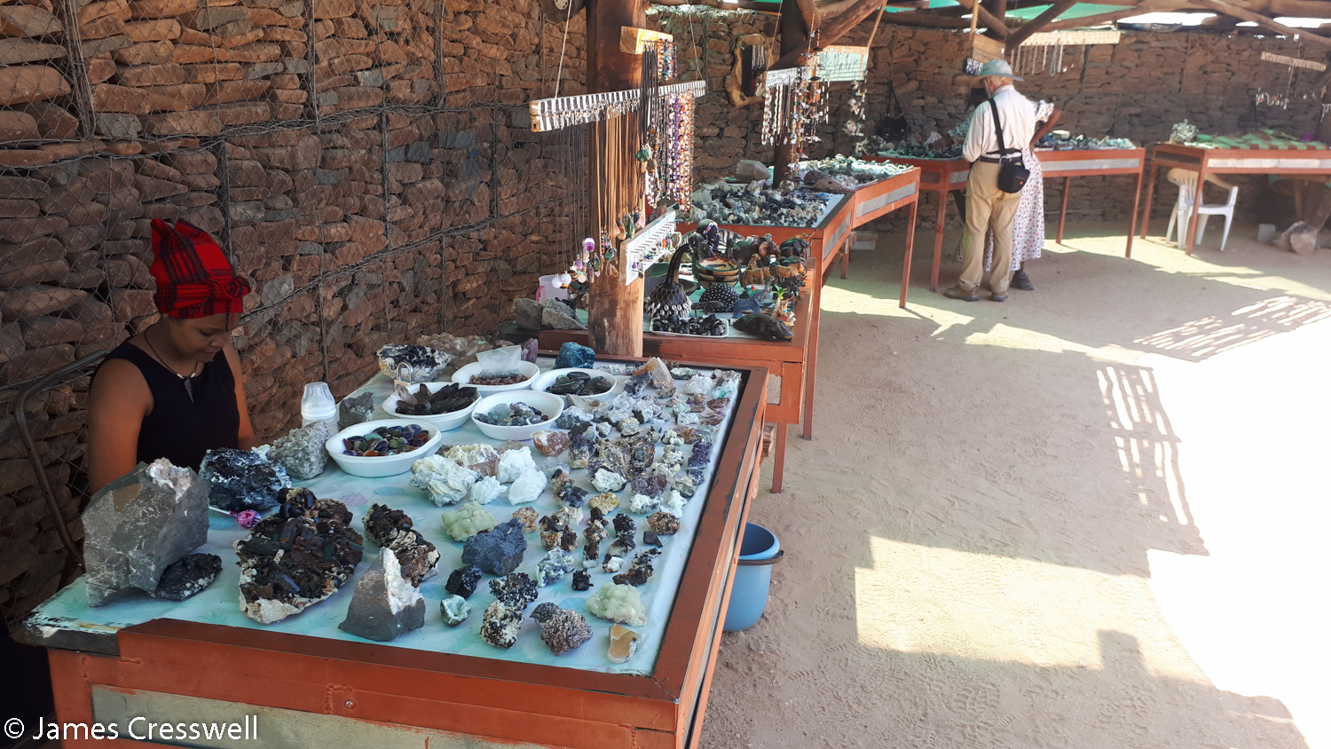 A roadside mineral market, Namibia.