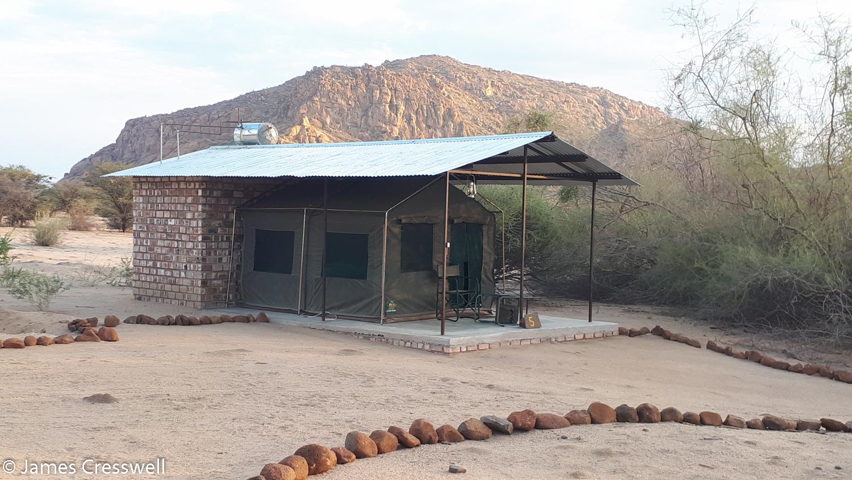 Luxury tent accommodation at the Omanduma Bush Camp, Erongo, Namibia