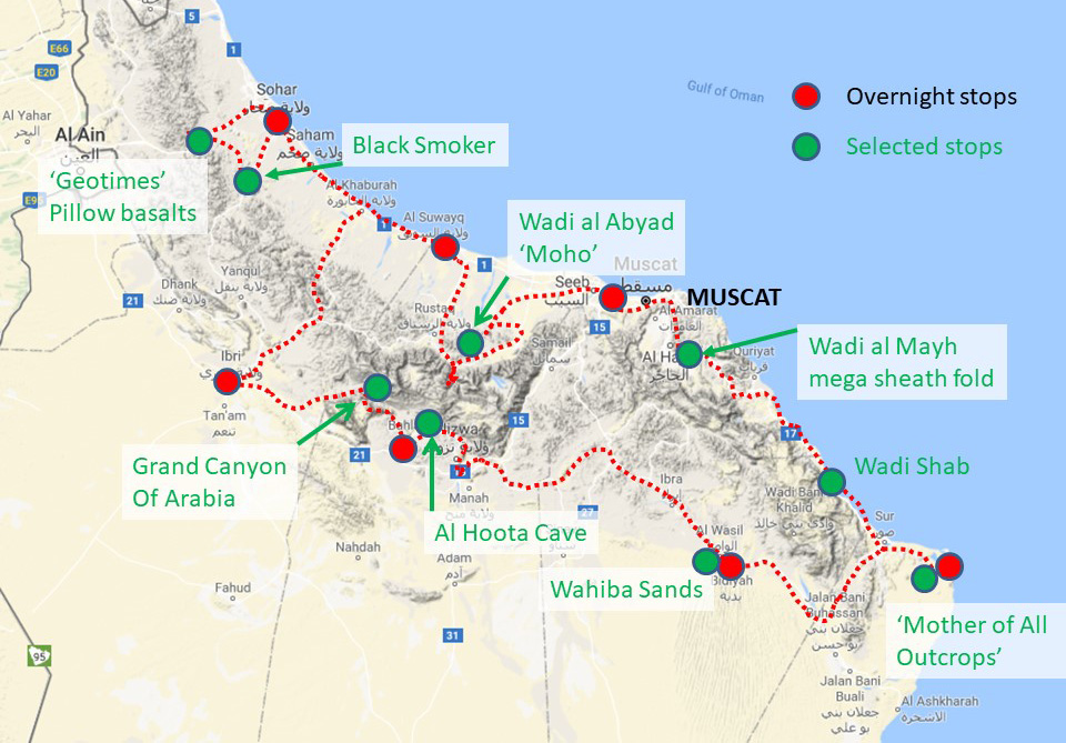Map of Oman overprinted with the GeoWorld Travel tour route and stops