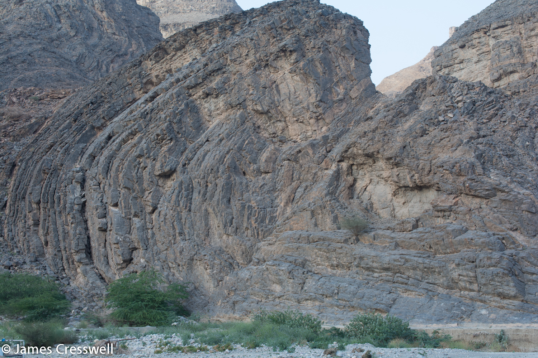 An isoclinal fold within the mega sheath fold of Wadi Mayh
