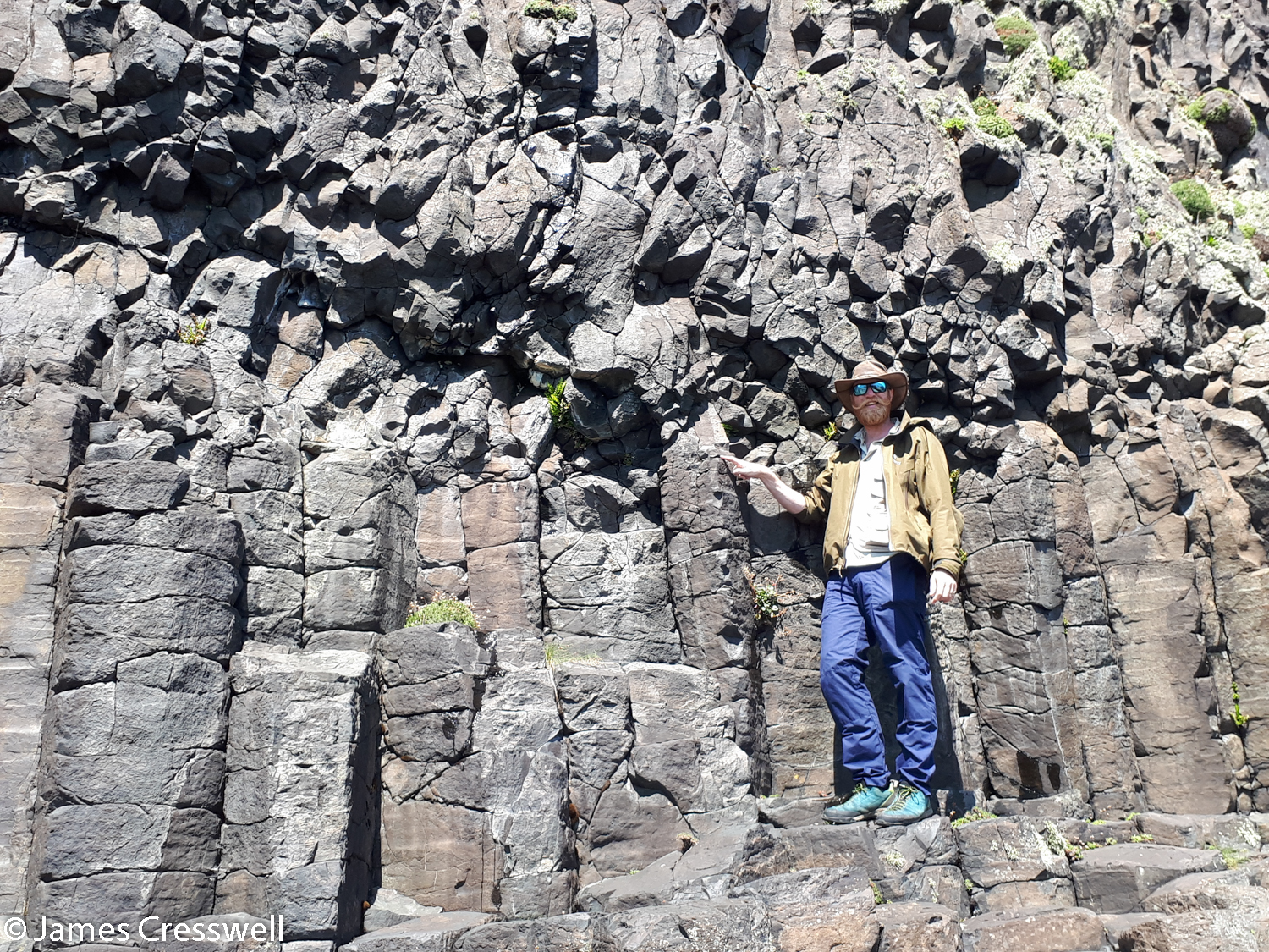Pointing at the junction where the basalt stops forming regular cooling structures and has solidified in a more chaotic entablature structure