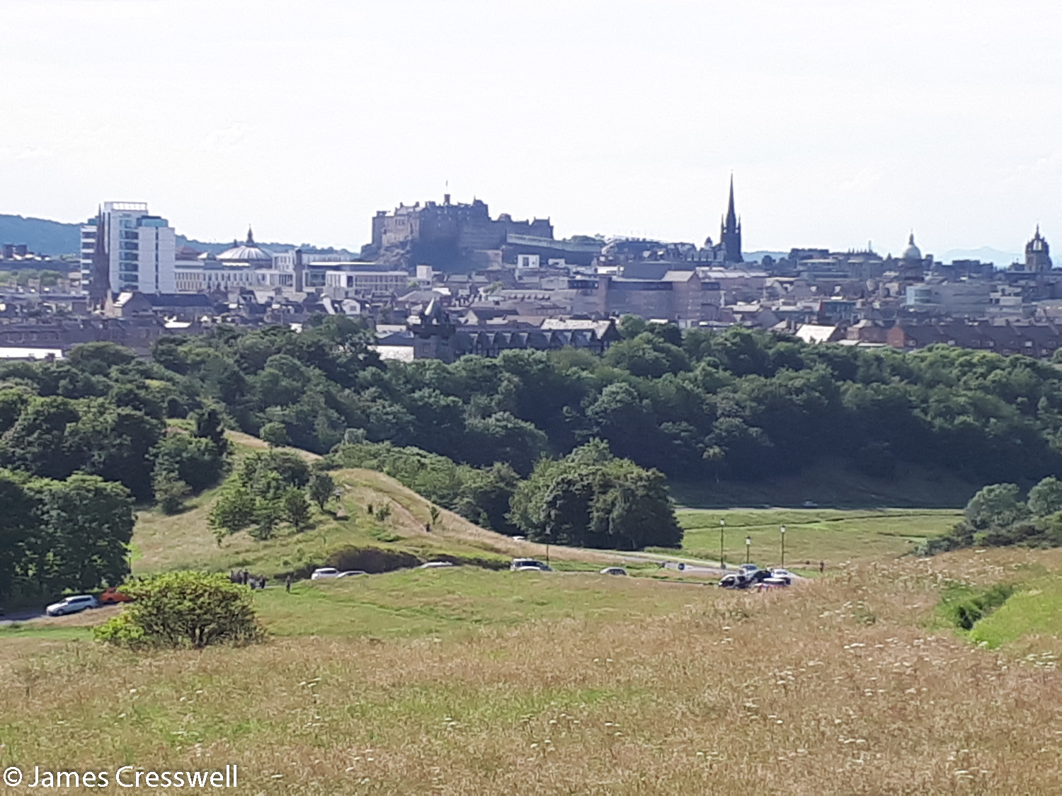 A distant view of Edinburgh Castle which sits on top of a Carboniferous volcanic plug
