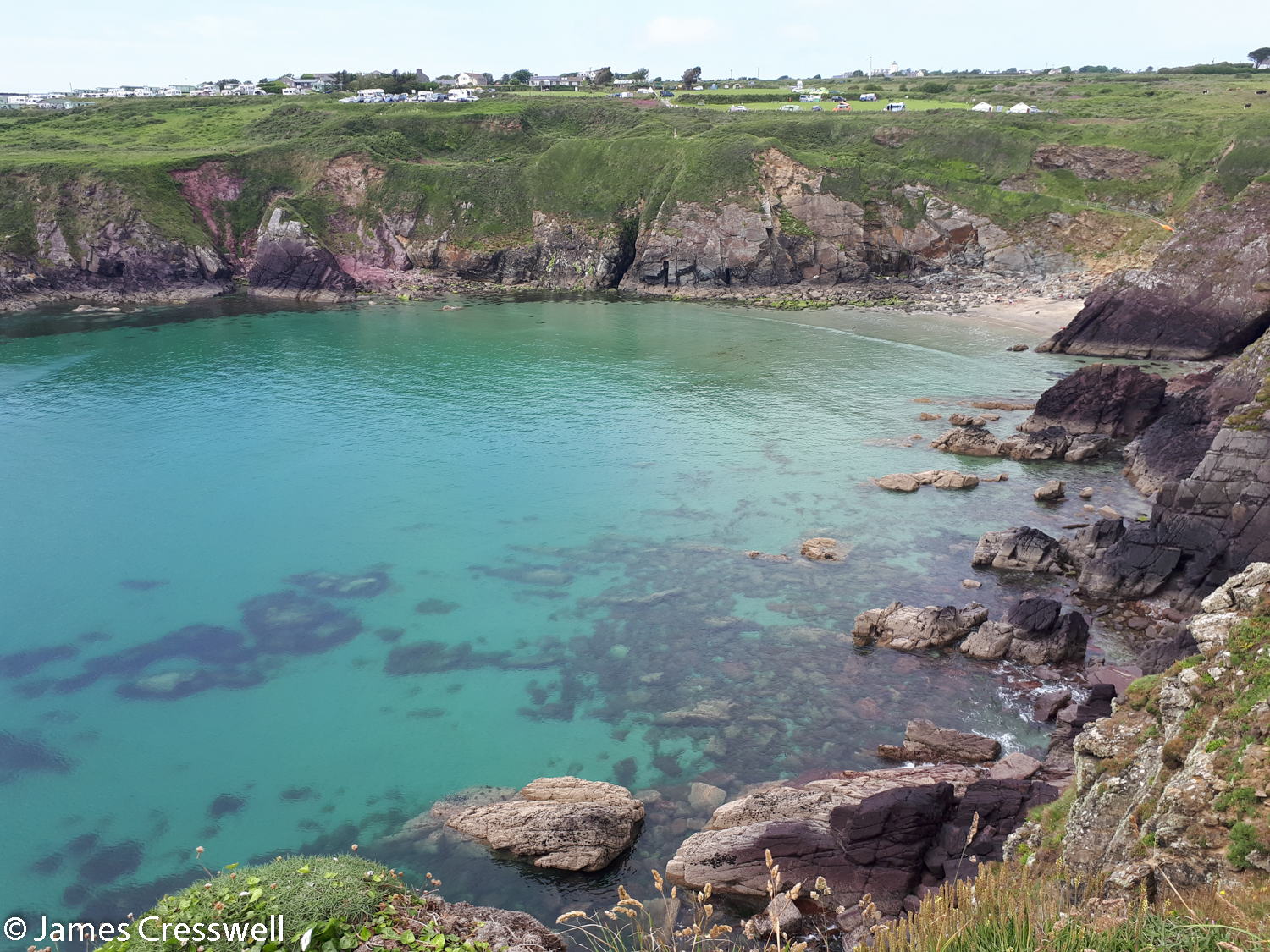 Caerfai Bay with purple Cambrian sandstone