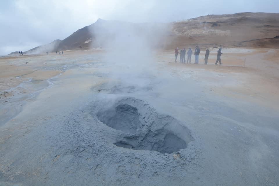 A steaming mudpot