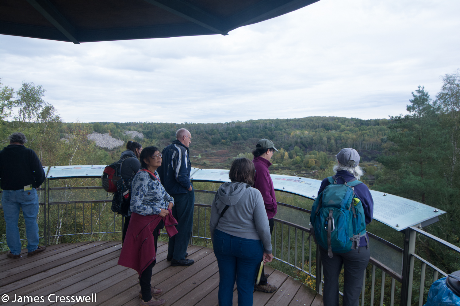 Group on observation platform