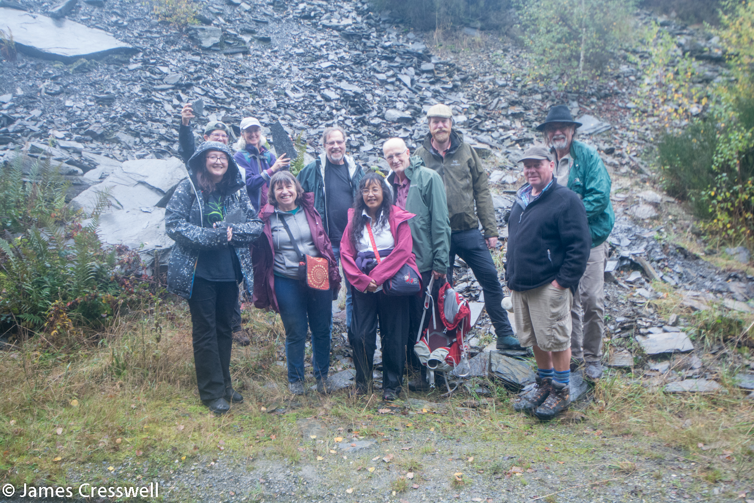 Group at fossil hunting site