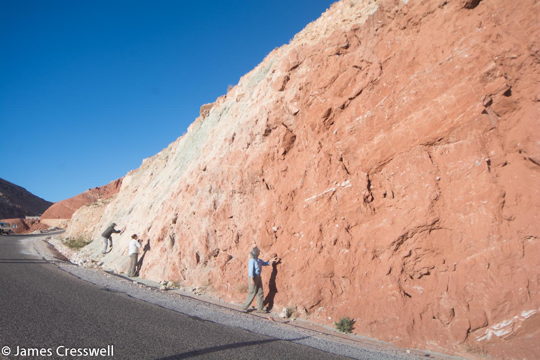 Roadside Paleogene sediments with gypsum