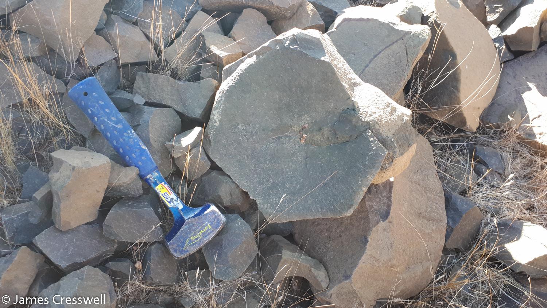 A rock block from a basalt cooling column