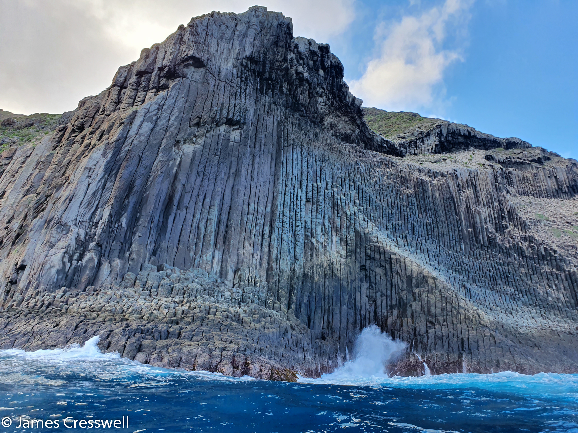 Sea cliff with geological formation