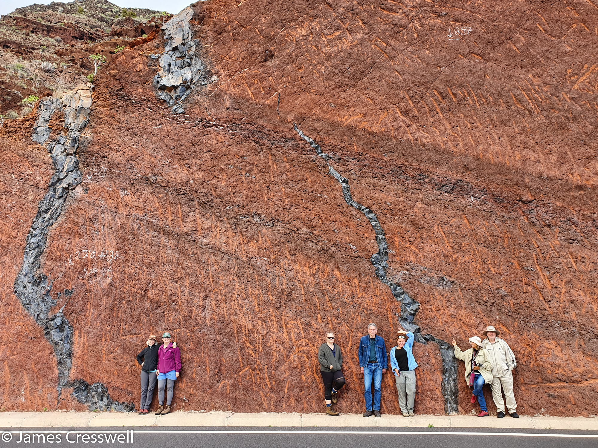 People standing in front of a red cliff face