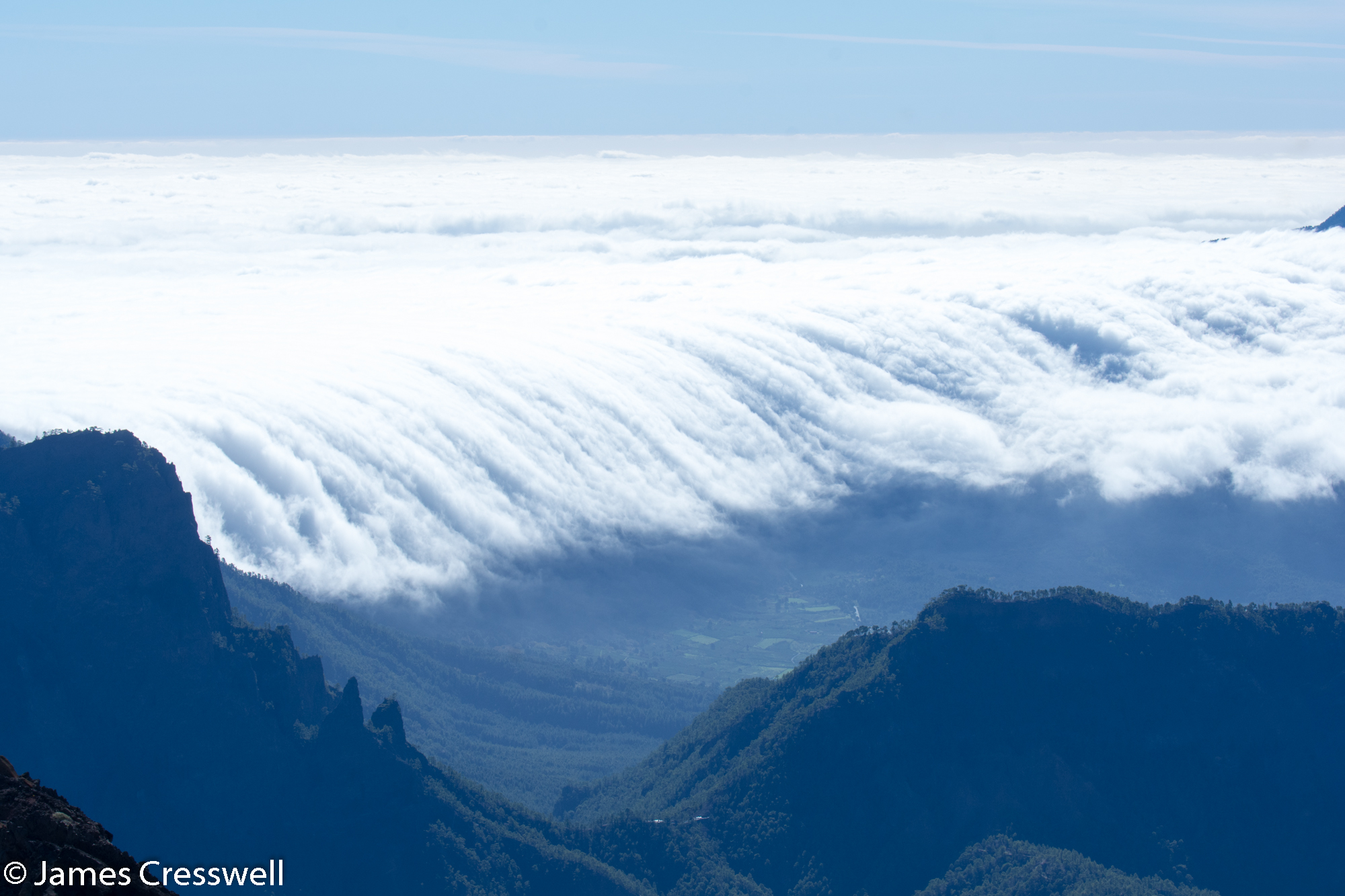 Clouds filling valley