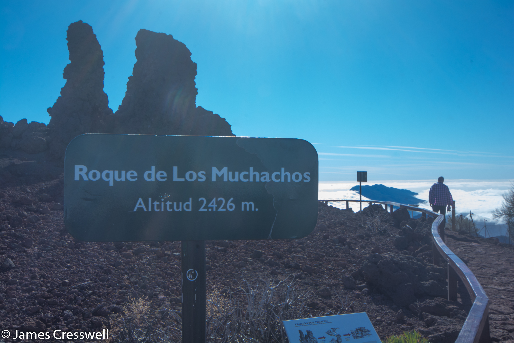 Sign post with name and altitude