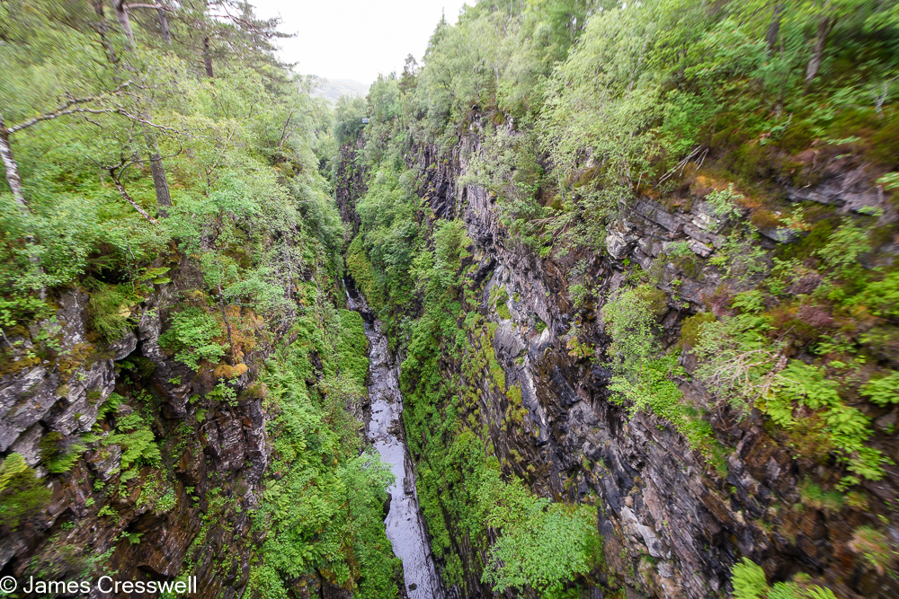 Looking down into a gorge that cuts through layered rock