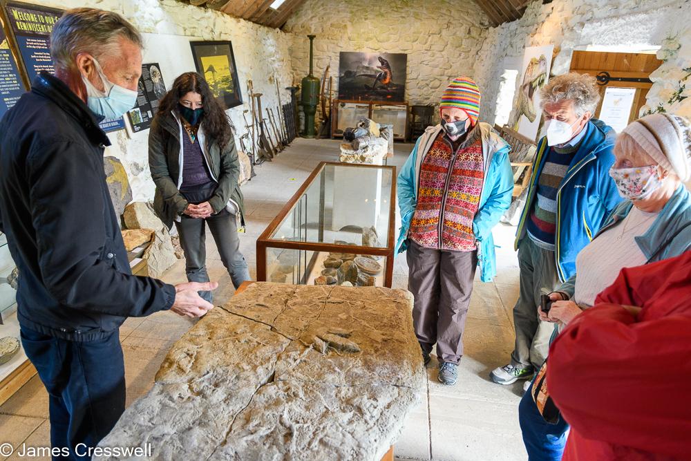Five people listen to a man explain a dinosaur footprint fossil