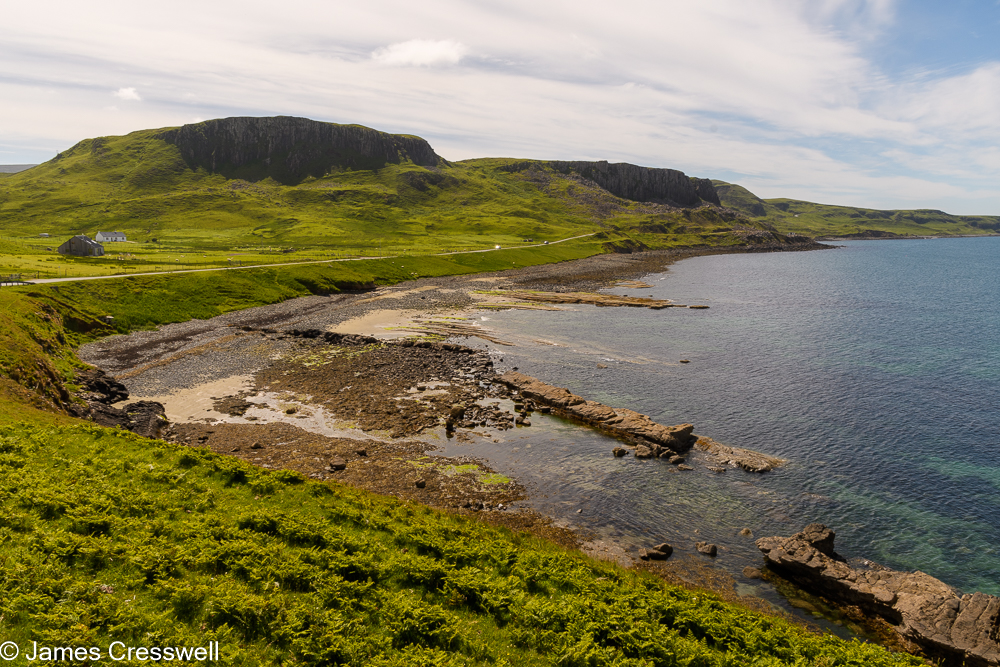 A bay with a rocky shore line
