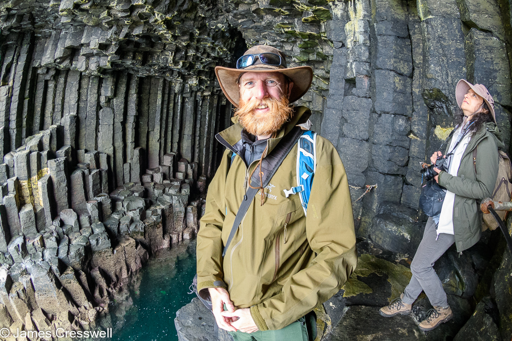 A man, James Cresswell, and woman in Fingal's Cave