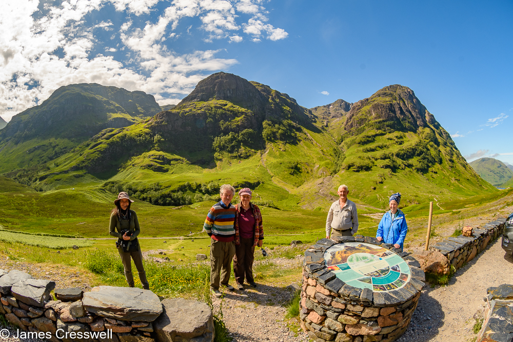 Five people standing next to sign with three mountains in the background