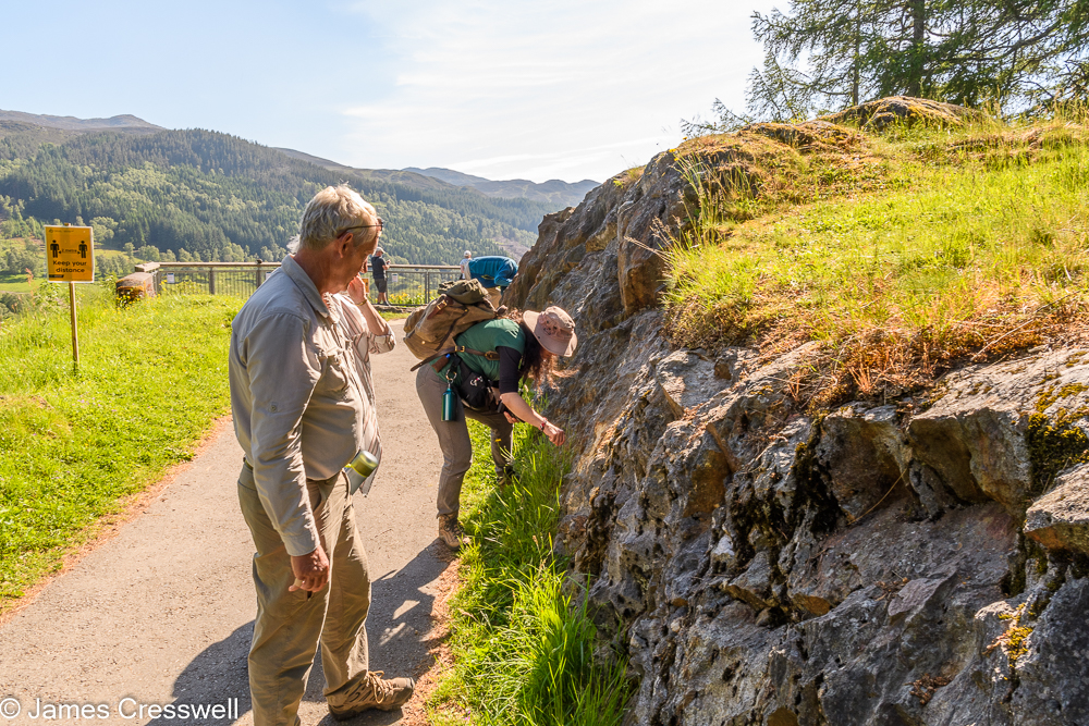 Two people looking at an outcrop of rock