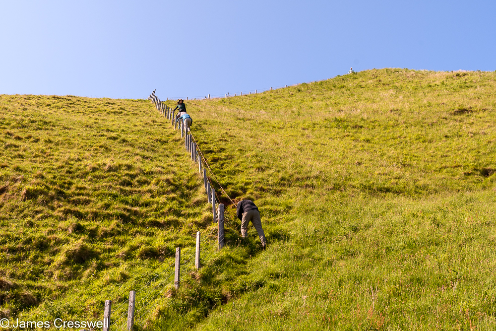 A fence on a very steep slope with three people descending using a rope