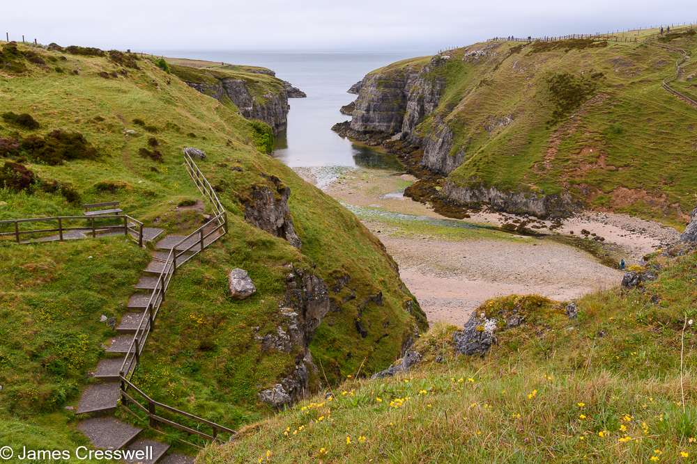 View from a cliff looking along a long thin inlet
