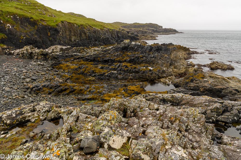 A rocky shore line